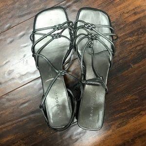 Bandolino Womans Square Toe Silver Heels Sz 8